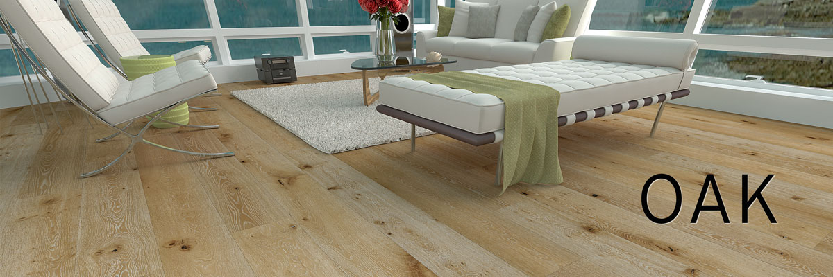 Hermitage Natural Washed Oak Laminate Flooring in luxury room with a beach view