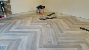NanoTAC Vinyl plank Garage installation - Colour PearlGrey Oak